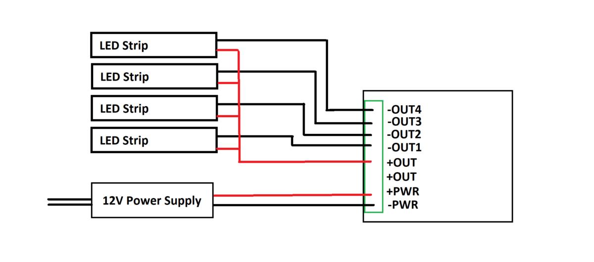 DIY ESP8266 LED strip controller - 4 channel, 12V - Daumemo